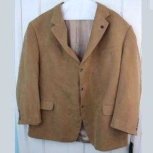 ANDREW FEZZA Mens Brown Blazer Size 52R Faux Suede
